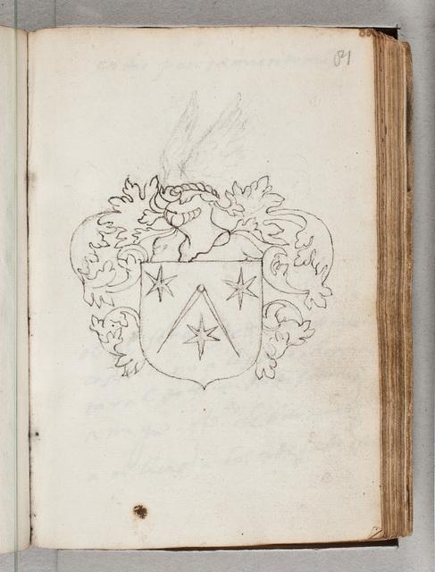 Schets van een wapen / in het album amicorum van Johannes van Amstel van Mijnden (ca. 1578-)
