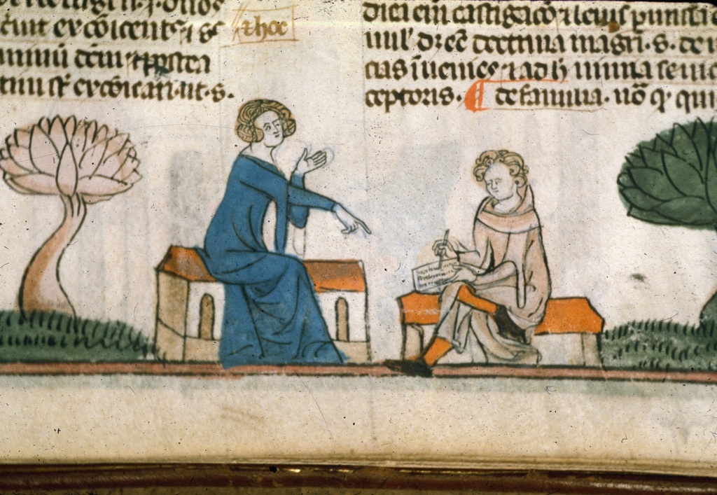 Seated man taking dictation from BL Royal 10 E IV, f. 307