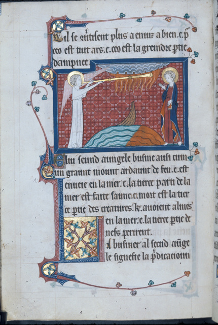 Second angel sounding his trumpet from BL Royal 15 D II, f. 137v