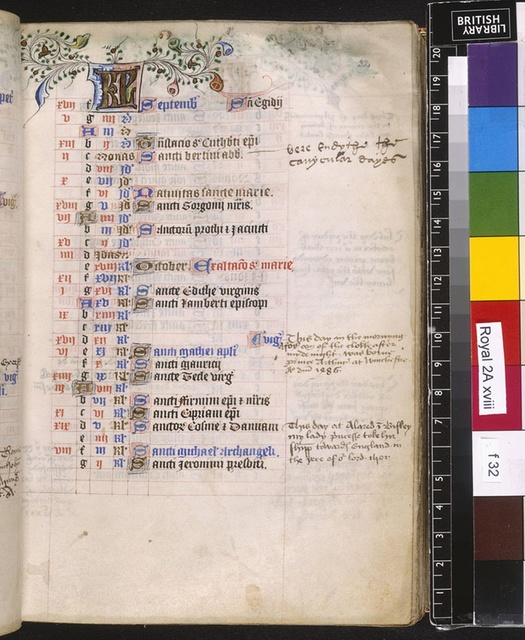 September from BL Royal 2 A XVIII, f. 32