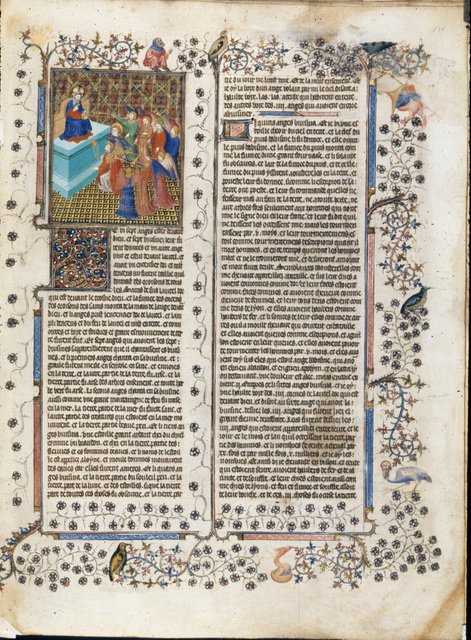 Seven angels before the throne from BL Royal 15 D III, f. 528