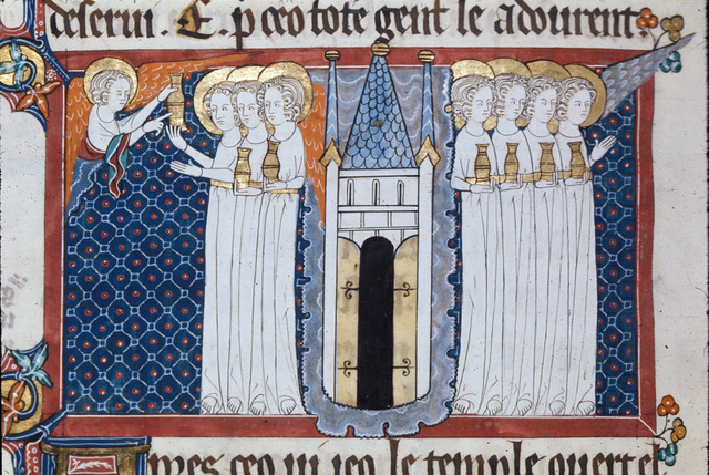 Seven angels with golden vials from BL Royal 15 D II, f. 170v