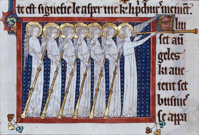 Seven angels with trumpets from BL Royal 15 D II, f. 136v