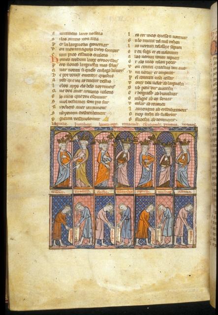 Seven Virtues from BL Royal 19 C I, f. 245v