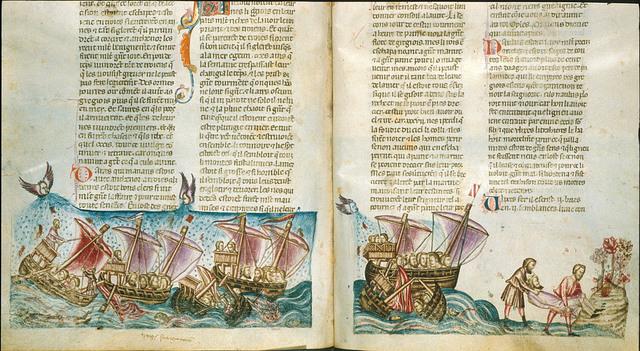 Shipwreck of Ajax Oileus from BL Royal 20 D I, ff. 176v-177