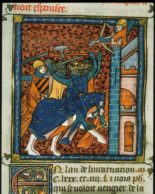 Siege of Gisors from BL Royal 16 G VI, f. 355
