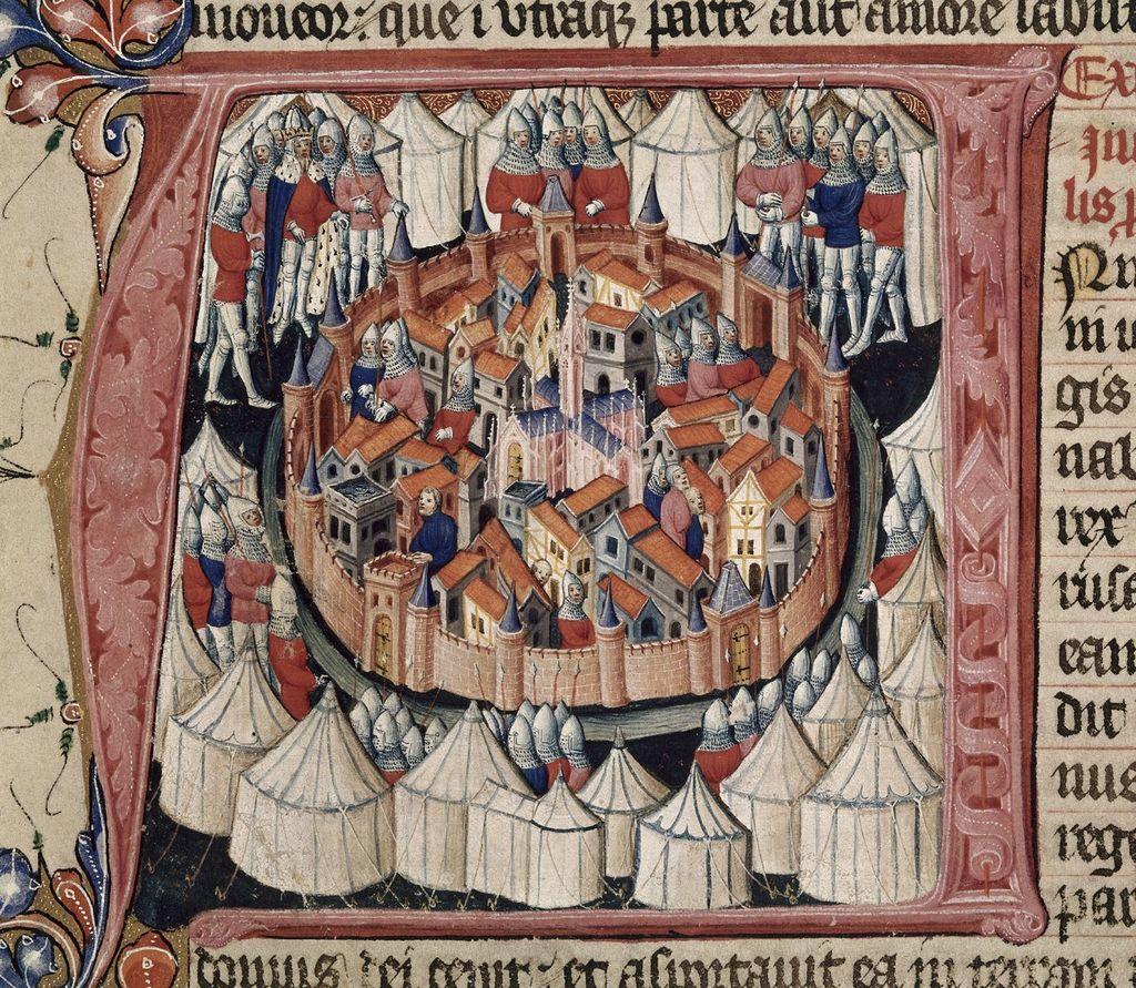 Siege of Jerusalem from BL Royal 1 E IX, f. 222