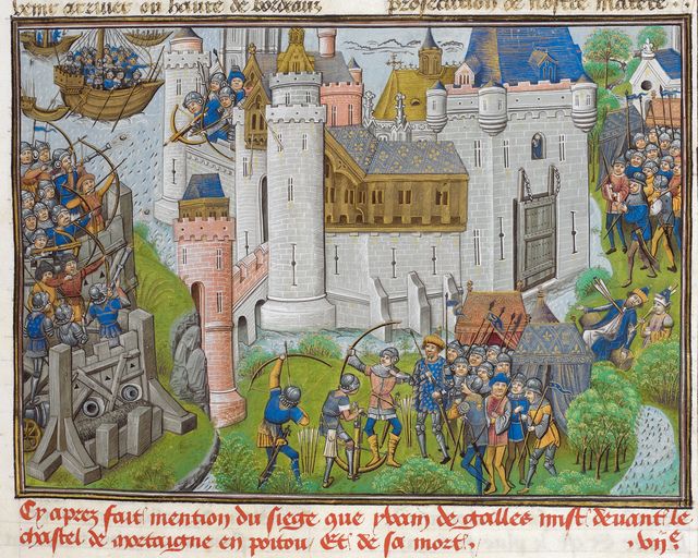 Siege of Mortagne from BL Royal 14 E IV, f. 23