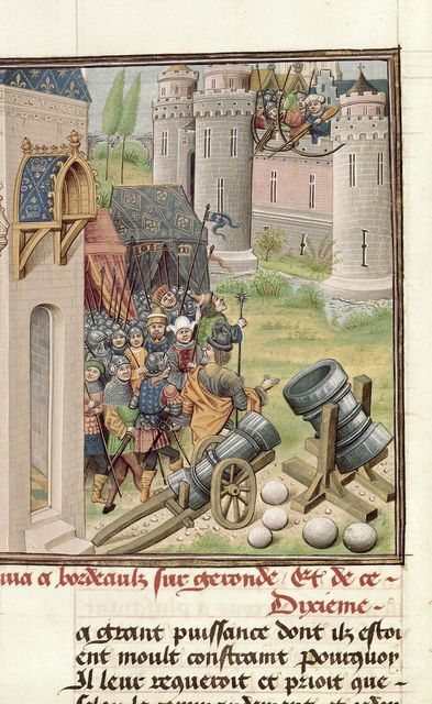 Siege of Pamplona from BL Royal 14 E IV, f. 28v
