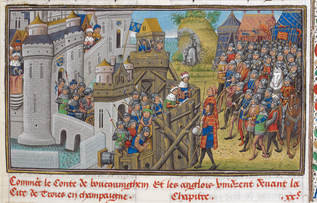 Siege of Troyes from BL Royal 14 E IV, f. 57