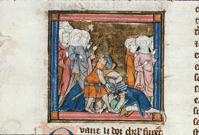 Sir Bors defeating Sir Prydam from BL Royal 14 E III, f. 120v