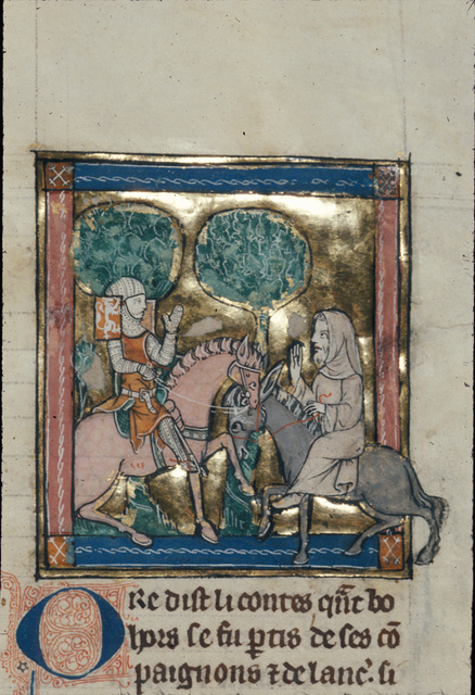 Sir Bors meeting a holy man from BL Royal 14 E III, f. 118