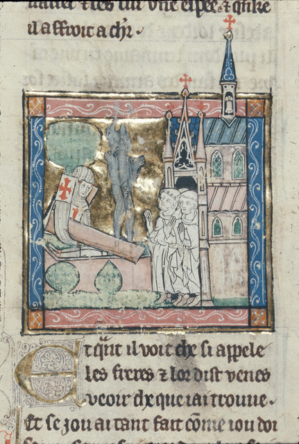 Sir Galahad casting out a fiend from BL Royal 14 E III, f. 95