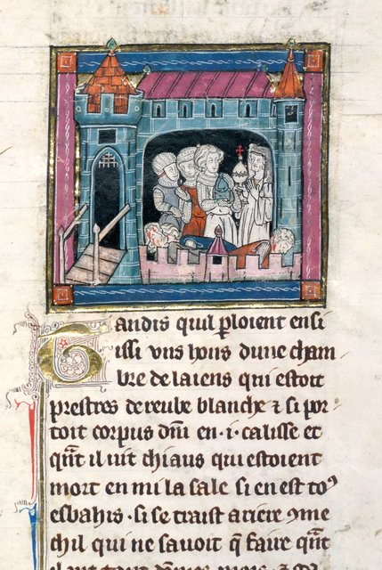 Sir Galahad, Percivale and Bors killing hostile knights from BL Royal 14 E III, f. 131