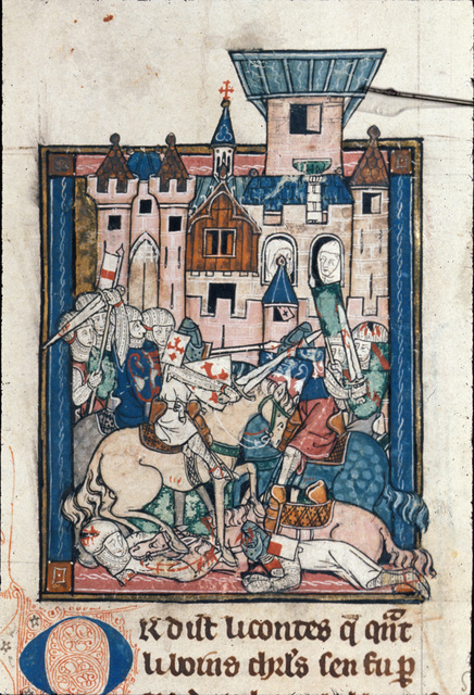 Sir Galahad wounding Sir Gawain in a tournament from BL Royal 14 E III, f. 125