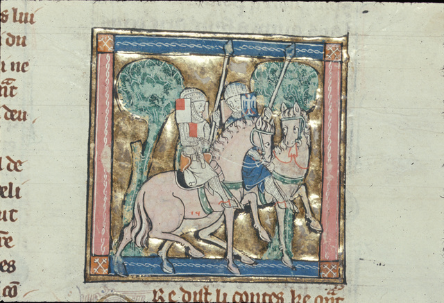 Sir Gawain riding with Sir Ector de Marys from BL Royal 14 E III, f. 115