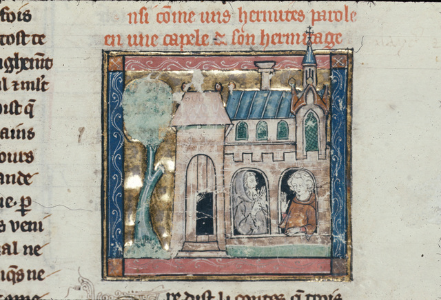 Sir Lancelot speaking with a hermit from BL Royal 14 E III, f. 109