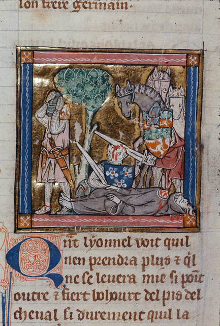 Sir Lionel killing a hermit and Sir Colgrevaunce from BL Royal 14 E III, f. 123v