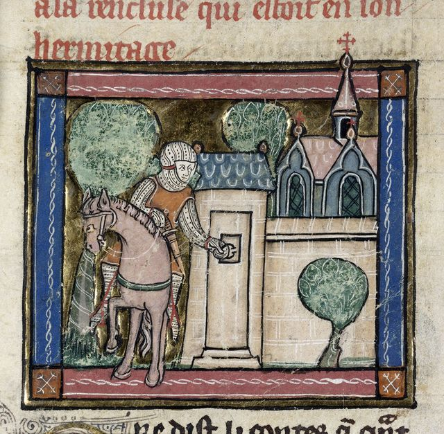 Sir Percivale arriving at a hermitage from BL Royal 14 E III, f. 101v