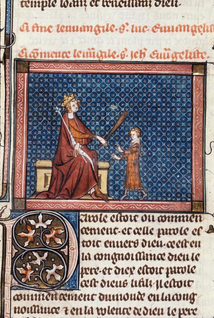 Solomon instructing Rehoboam from BL Royal 18 D VIII, f. 79