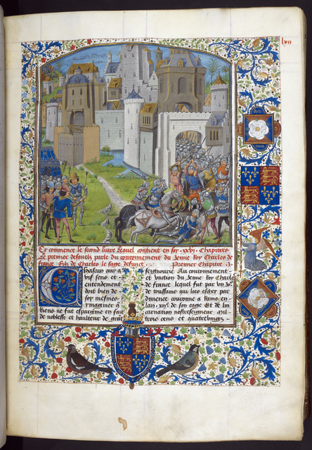 Sortie from Nantes from BL Royal 14 E IV, f. 71