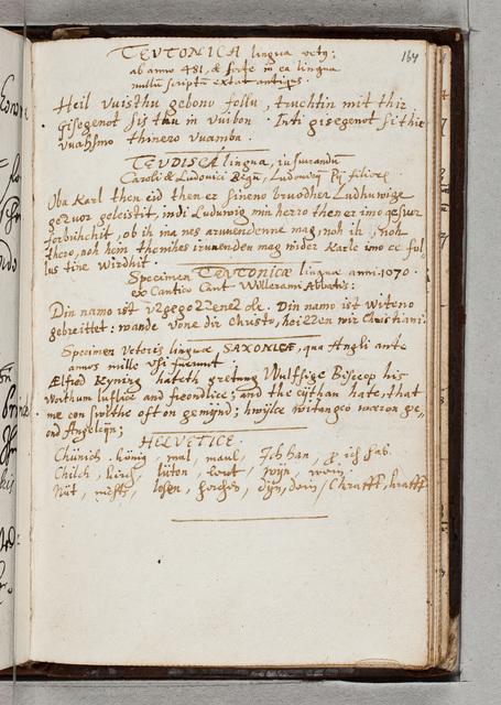 Specimina van diverse talen en dialecten / door Ernst Brinck (1582-1649), gezant, burgemeester van Harderwijk, afgeschreven in zijn album amicorum