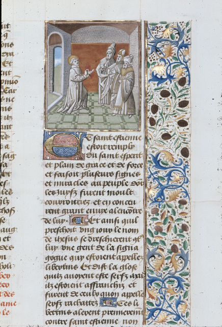Stephen before the council from BL Royal 15 D I, f. 392