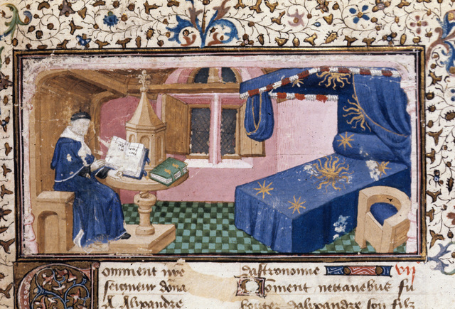 Student reading from BL Royal 20 B XX, f. 1