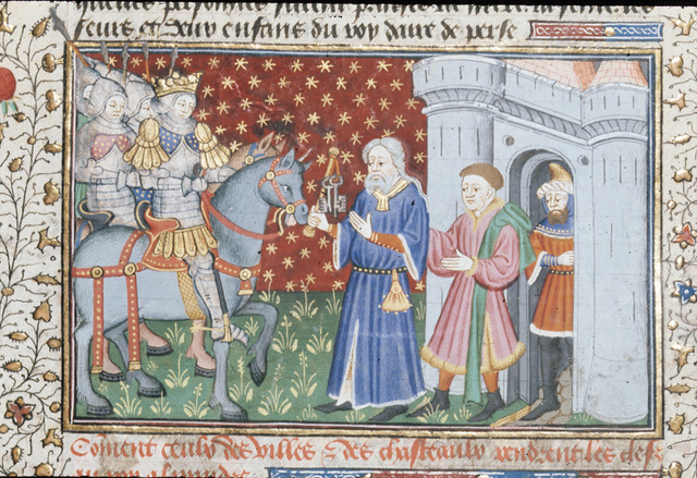Surrender of a city of Alexander from BL Royal 15 E VI, f. 12v