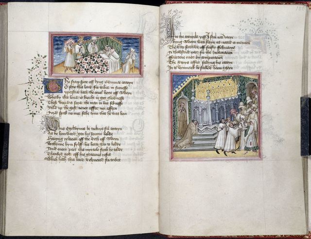 Sweyn; shrine of Edmund from BL Harley 2278, ff. 105v-106