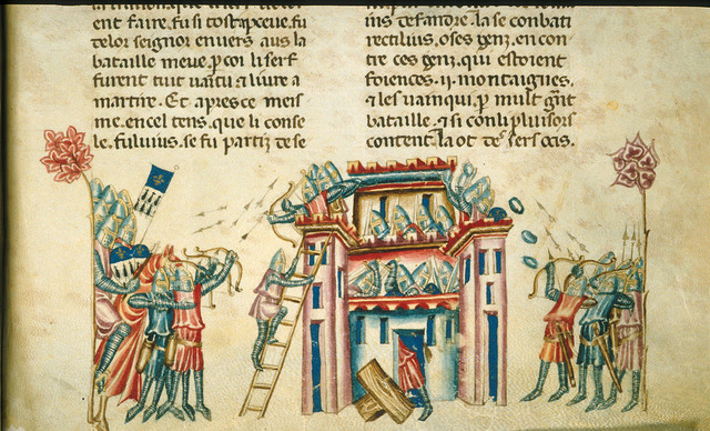 Taking of a castle from BL Royal 20 D I, f. 319
