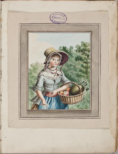 Tekening in kleur van een meisje met een fruitmand / door Horemans