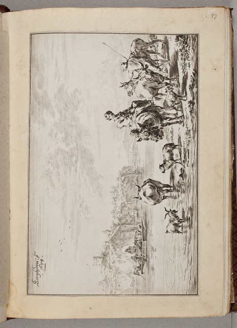 Tekening: oversteekplaats voor vee bij een rivier / door N[icolaes] Berghem (1620-1683)