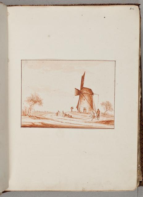 Tekening: polderlandschap met een molen en een paar werklieden