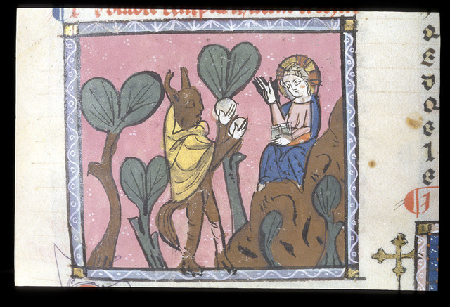 Temptation of Christ from BL Royal 19 C I, f. 164