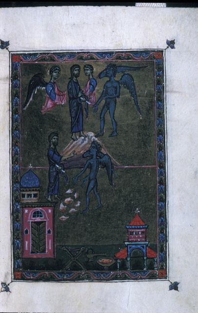 Temptations of Christ from BL Eg 1139, f. 4