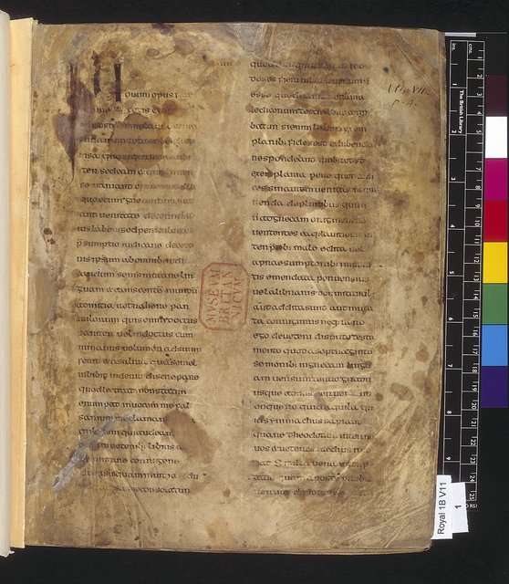 Text page from BL Royal 1 B VII, f. 1