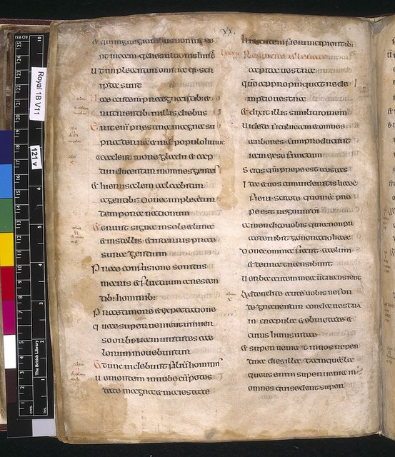 Text page from BL Royal 1 B VII, f. 121v