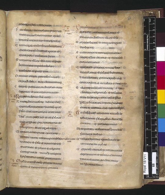 Text page from BL Royal 1 B VII, f. 68