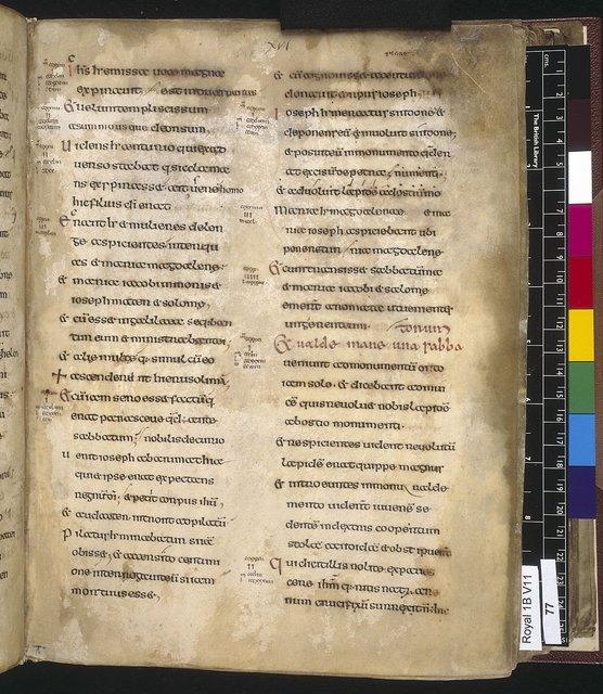 Text page from BL Royal 1 B VII, f. 77