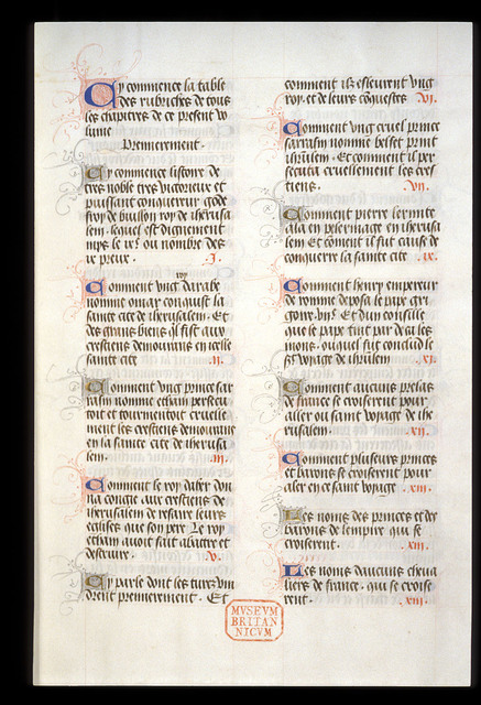 Text page from BL Royal 17 F V, f. 1