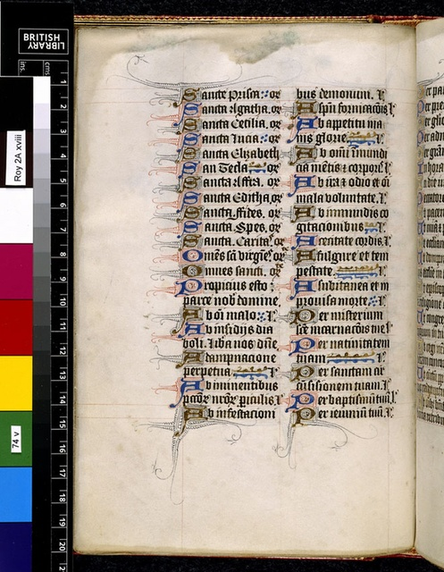 Text page from BL Royal 2 A XVIII, f. 74v