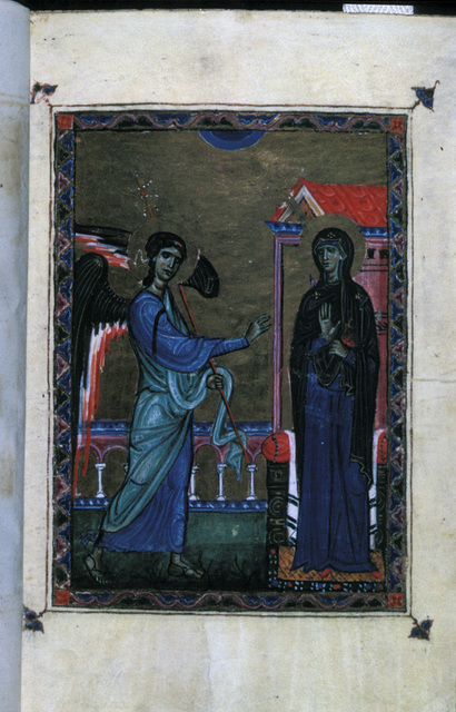 The Annunciation from BL Eg 1139, f. 1