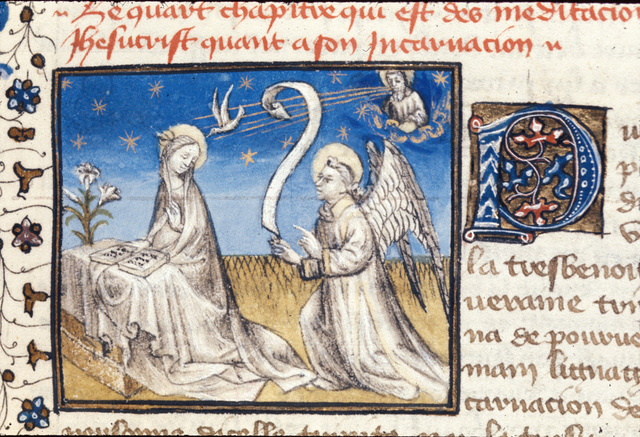 The Annunciation from BL Royal 20 B IV, f. 12
