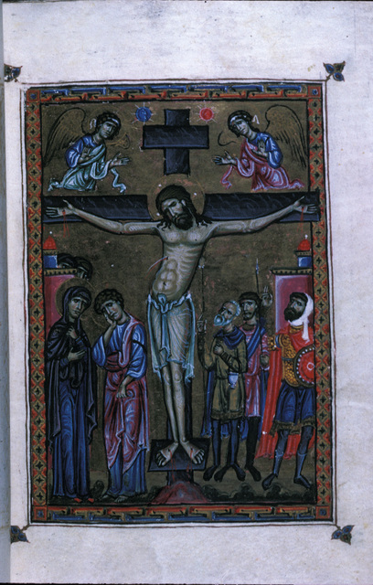 The Crucifixion from BL Eg 1139, f. 8