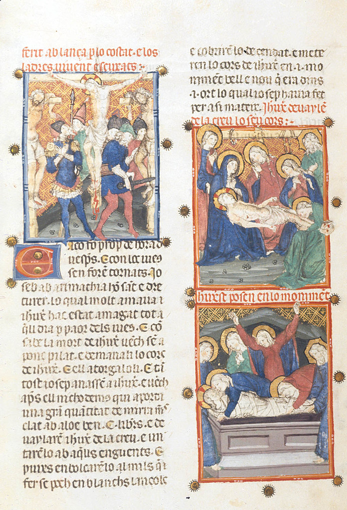The Crucifixion, the Deposition, and the Entombment from BL YT 31, f. 240v