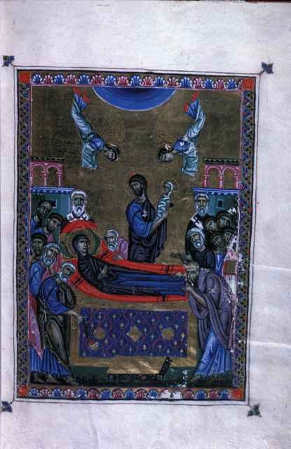 The Dormition from BL Eg 1139, f. 12