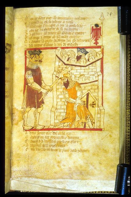 The giant Estragot slays Savaris from BL Eg 3028, f. 74