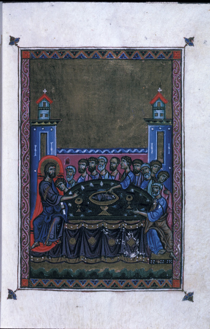 The Last Supper from BL Eg 1139, f. 6