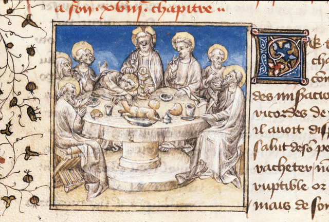 The Last Supper from BL Royal 20 B IV, f. 105